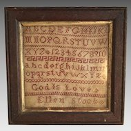 Antique early 19th Century sampler by Ellen Stock