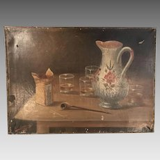Antique naive still life study in oil of pipe tobacco jug and drinking glasses by H Lechrist dated 1896