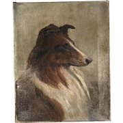 Antique oil painting of a Rough Collie dog dated signed dated 1912