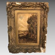 Antique early 19th Century landscape in oil