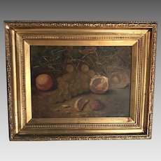 Antique English mid 19th Century framed still life in oil fruit in a basket by GJ Barnes 2 of 2