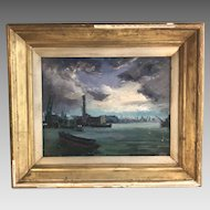 Antique Impressionist oil seascape painting of docks scene signed N Bortle 1963