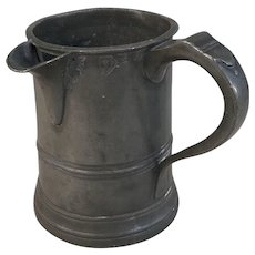 Antique English Victorian pewter quart pouring jug from Audley End Suffolk