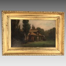 Antique gilt framed oil painting of cottage and garden