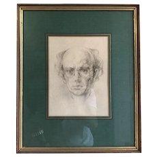 Original vintage pencil drawing self portrait of Peter Wardle