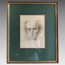 Original vintage pencil drawing self portrait of Peter Wardle