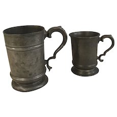 Couple of antique pewter tankards
