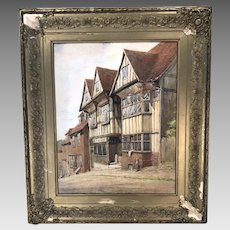 Antique watercolour painting of Mermaid Hill, Rye, Sussex by Alfred H Hart 1930s