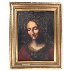 Antique Georgian portrait in oil Renaissance style