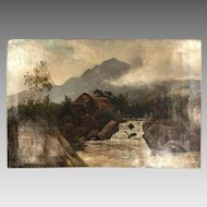 Antique 19th Century landscape oil painting signed T Colis