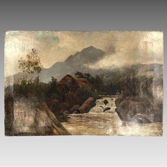 Antique 19th Century landscape oil painting signed T Colis