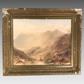 Antique 19th century framed landscape watercolour painting Italian Alpine scene