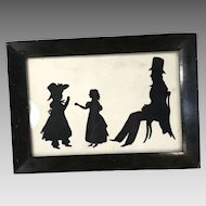 Antique Georgian Silhouette portrait of father and children in ebonised frame