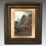 Antique framed watercolour gouache landscape painting signed Len Berkley British early 20th Century