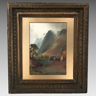 Antique framed watercolour gouache landscape painting signed Len Berkley British early 20th Century
