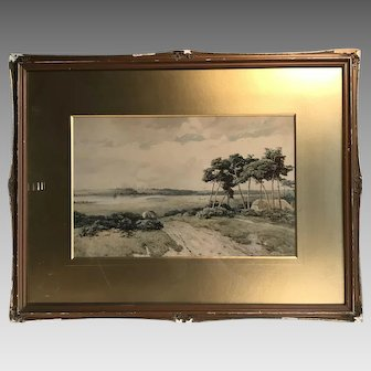 Antique 19th Century watercolour landscape painting The Road to the River by Thomas Pyne