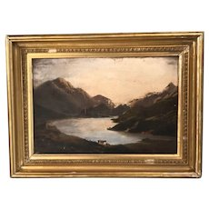 Antique early Victorian landscape oil painting of mountain and lake scene