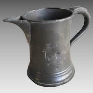 Antique English Victorian pewter pint jug by James Yates with 3 engraved birds herons