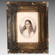 Antique English watercolour portrait painting of young girl in ornate gesso frame