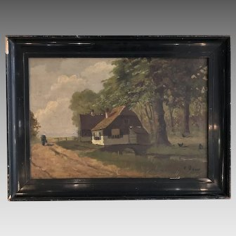 Antique French Impressionist style landscape oil painting signed V Daws