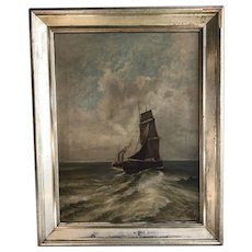 Antique large maritime oil painting seascape of sailing ship and steam tug signed and dated 1898
