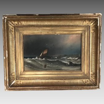 Antique maritime seascape painting in pastel sailing ship labouring on high seas