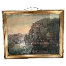 Antique landscape in oil of fishermen The Fishing Trip