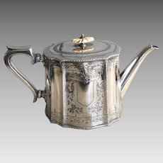 Antique Victorian silver plated teapot engraved coat of arms