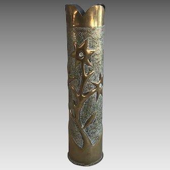 Antique WW1 Trench Art brass worked vase