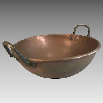 Antique French large heavy duty copper mixing bowl