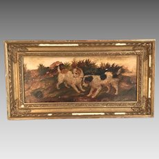 Antique English oil painting of two inquisitive dogs terriers ratters