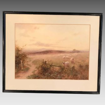 Antique watercolour landscape painting of sheep by Alfred Montague Rivers 1913
