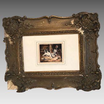 Antique small watercolour painting of two terriers or ratters chasing a rat