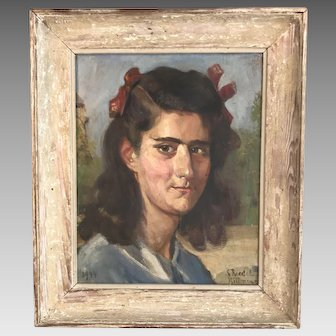 Antique French portrait in oil of girl signed S Riedel dated 1944