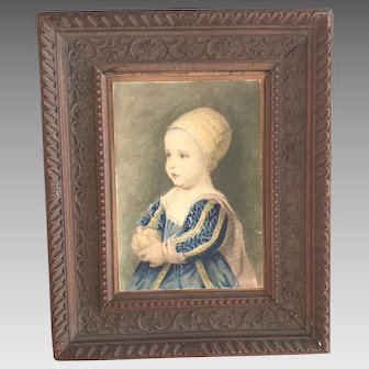 Antique watercolour portrait of a baby Henrietta daughter of Charles 1