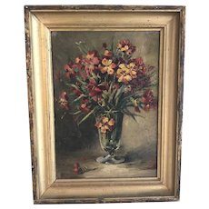 Antique still life oil painting study of flowers in glass vase
