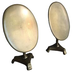 Pair antique early Victorian brass candle reflectors or miniature oval tilt top tables