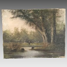 Antique French Impressionist landscape in oil
