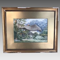 Antique English watercolour painting of Jervis cottage Lyndhurst by A E Edney 1929