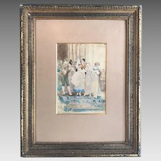 Antique French watercolour painting of a royal christening
