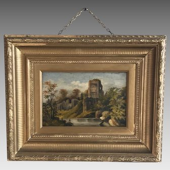 Antique French landscape painting in oil of fisherman and ruins of monastery