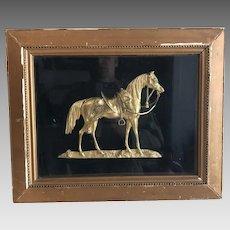 Antique framed diorama of the Duke of Wellington's horse, named 'Copenhagen