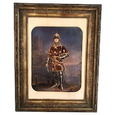 Antique portrait of a knight in armour by M Laroche
