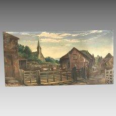 Antique English landscape in oil farm scene signed A Cadman 1901