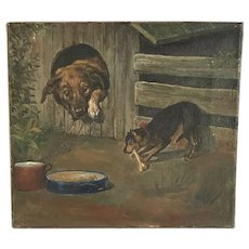 Antique oil painting study of dog stealing bone