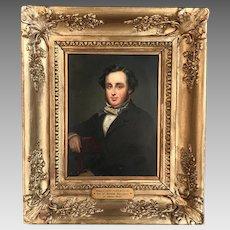 Antique Early Victorian portrait in oil of Matthew Harrison