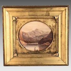 Antique landscape watercolour painting of Scottish lake scene