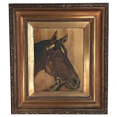 Antique oil landscape painting of horse signed J Lott dated 1906 1 of 2