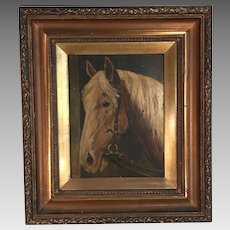 Antique oil landscape painting of horse signed J Lott dated 1906 2 of 2