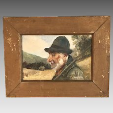 Antique oil painting of farmer signed Henrie Pitcher dated 1907